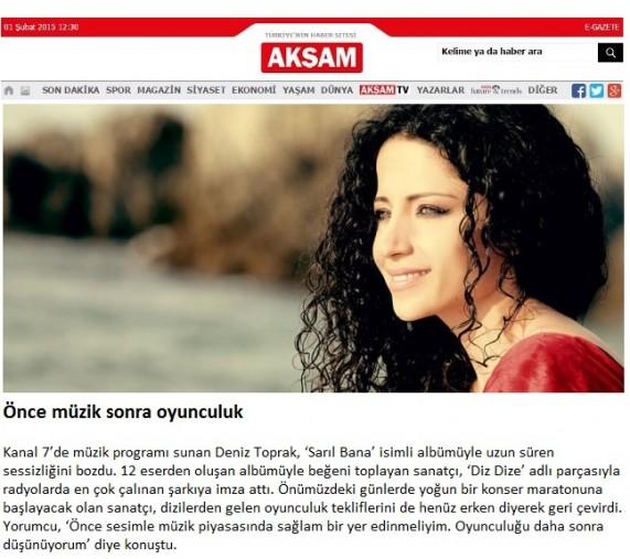 Deniz Toprak Akşam Gazetesi